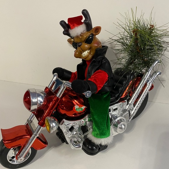 Dan Dee Animated Musical Reindeer On Motorcycle